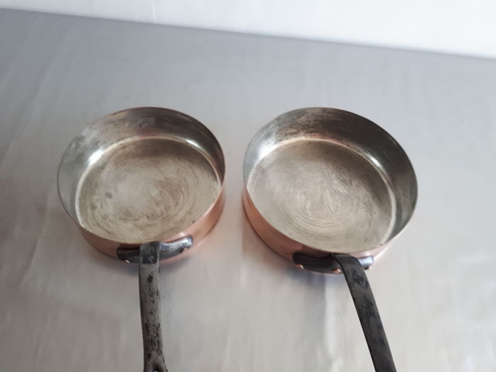 Lot of two old professional tin-lined copper skillets in good condition