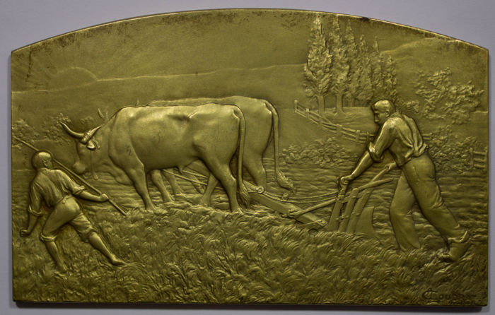 Frankrijk - Gilt Plaquette 'Agriculture' by Coudray (19th Century)