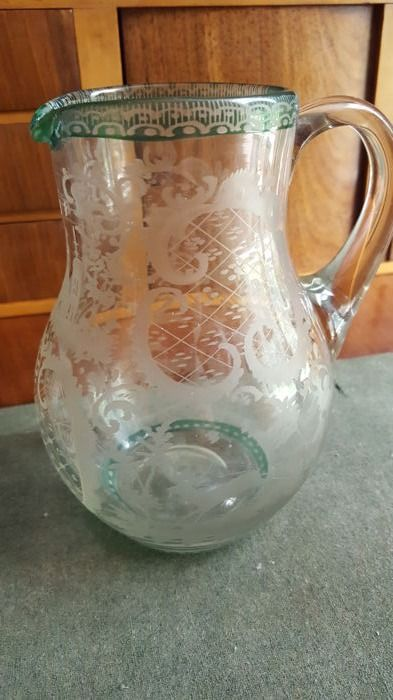 Large carafe george III engraved handled glass - c.1865 - England