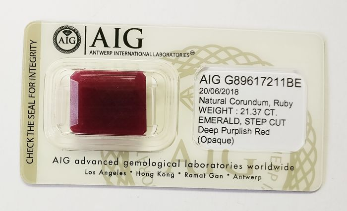 Ruby Deep Purplish Red ( Opaque ) 21.37 ct *** No Reserve ***