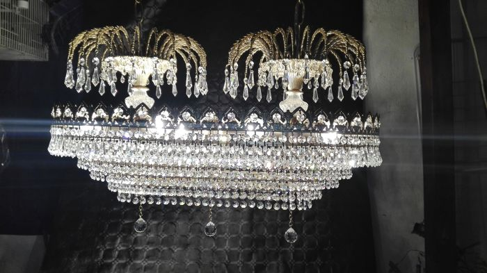 Large oval lamp in brass and Swarovski style crystals - 20th century