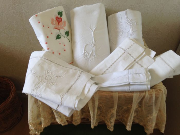Old household linen made of linen and hand embroidered cotton Monogram France