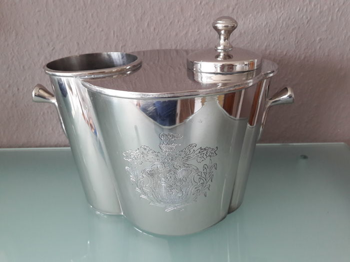 Decorative, silver-plated champagne / wine cooler with separate freezer and coat of arms on both sides