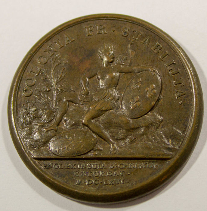 Frankrijk - Bronze Medal' Louis XIV - Restoration of the Island of St Christopher to France' 1666 by J. Mauger