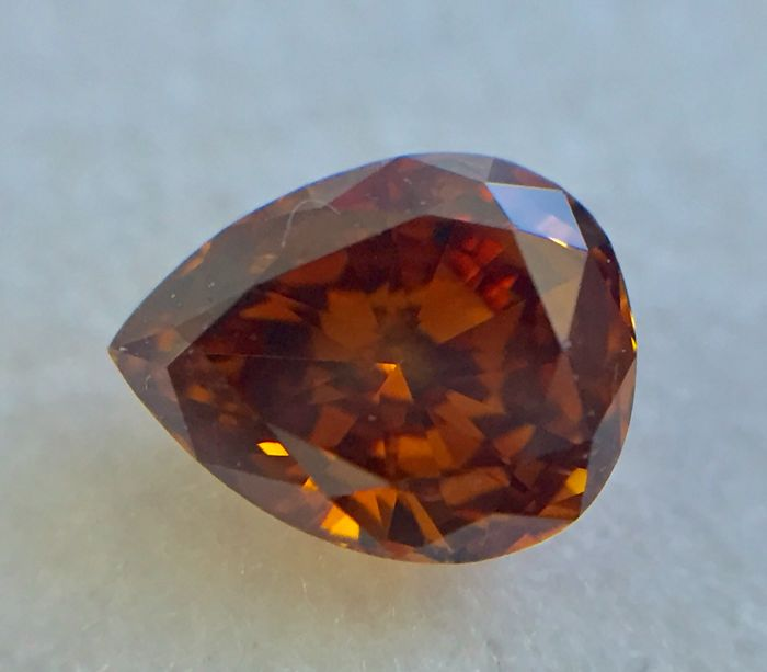 Natural fancy deep brownish orange 0.44ct pear shape with  IGL certificate # D88552435IL