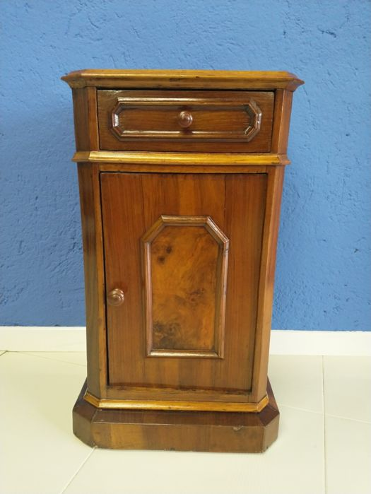 Walnut wood cabinet - front door and drawer - wood knobs - Italy - 1950s