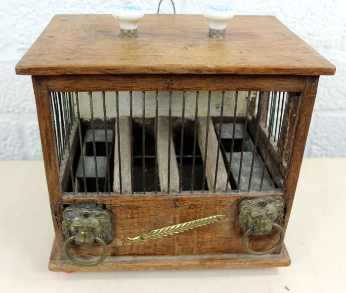 Original Antique Bird Cage Decorated With Porcelain Knobs And Lion