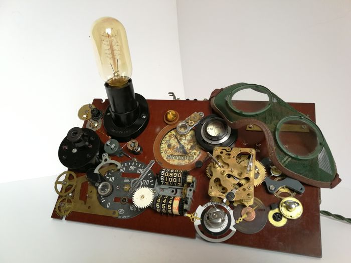 Unknown desinger - steampunker's dashboard table lamp