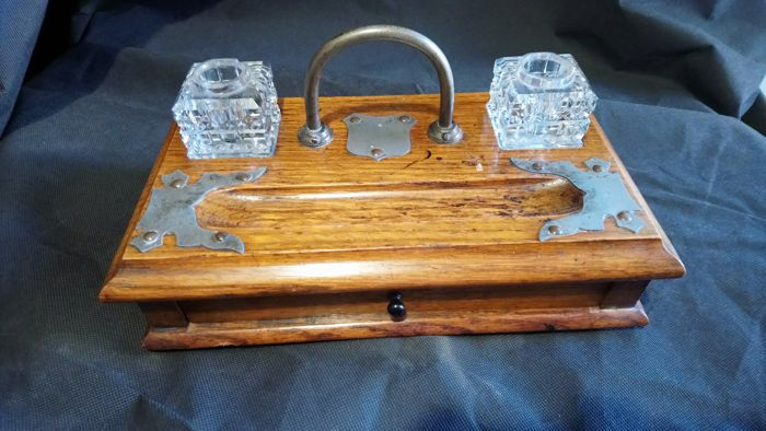 Antique Desk Top Wooden Inkwell Pen Stand Letter Drawer Ca 1900