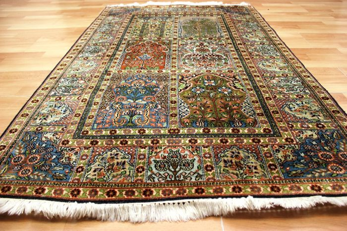 Fields Qom Kashmir silk - India - 156 x 95 cm