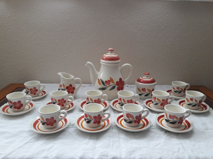 Gien's earthenware - Coffee set composed of 15 pieces