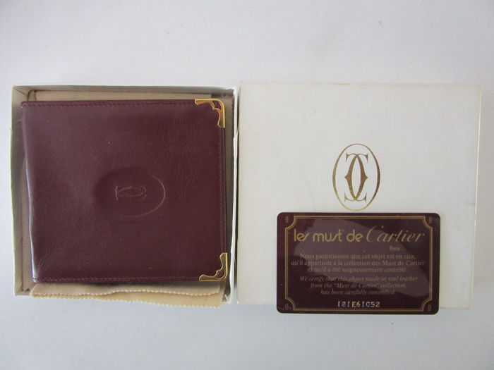 """Les Must de Cartier"" Burgundy Leather Cigarette Case / Cover - unisex - with original box and authenticity card, vintage"