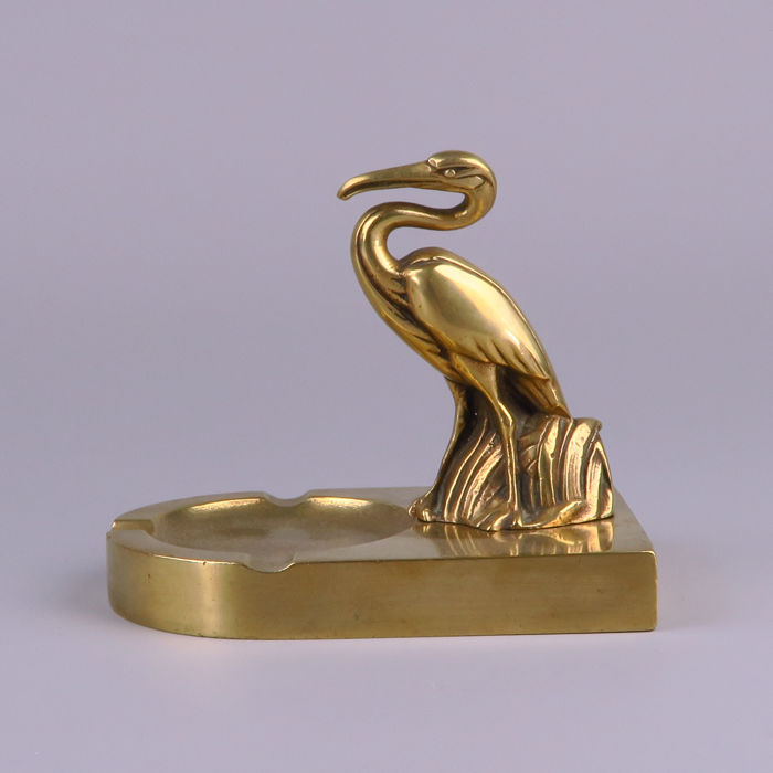 Art Nouveau brass ashtray - sculpture, marabou-stork