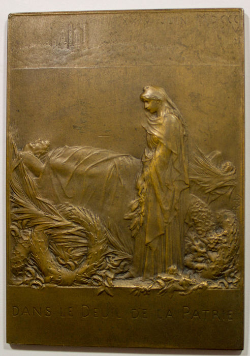 Frankrijk - Bronze Plaquette 'Funeral of Sadi Carnot' 1894 by O. Roty