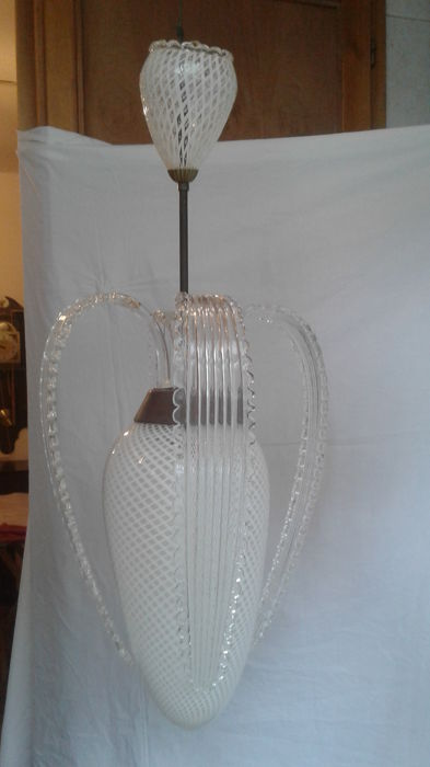 1950 one of a kind, entirely handmade crystal chandelier