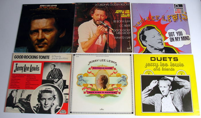 6x LP Rock & Roll Records from JERRY LEE LEWIS from the 1960's & 1970's original 1st pressings from the UK, Holland & France