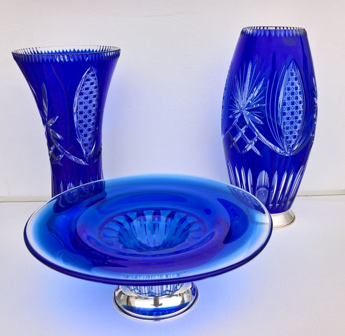 2 Jars and 1 Fruit Bowl in Morano Crystal Cobalt Blue with the Bases in Silver 925