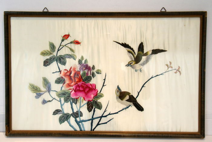 Embroidery on silk; framed - China - first half 20th century