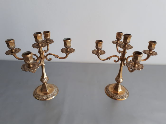 Two antique candlesticks in gilded bronze style Louis XV, XlX century