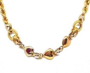 Necklace in 18 kt white, rose and yellow gold with a central decoration of hearts
