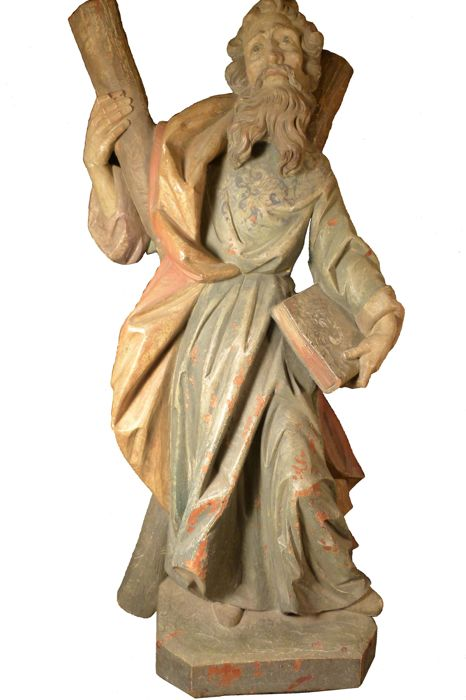 Great polychrome wood carving of Saint Andrew - 19th century