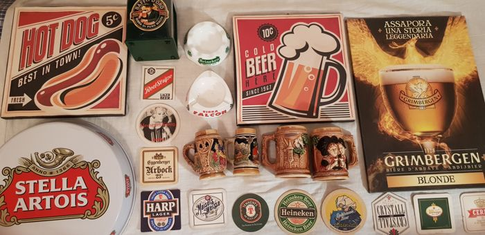 Interesting lot of beer themed items: signs, tankards, coasters, ashtrays, etc.