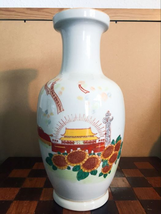 Chinese cultural revolution Mao time period hand-painted vase - China - approx. 1966-1976