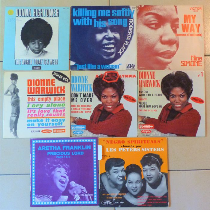"8 singles ""Ladies of Soul"" - Aretha Franklin, Donna Hightower, Nina Simone, Roberta Flack, Dionne Warwick and The Peters sisters"