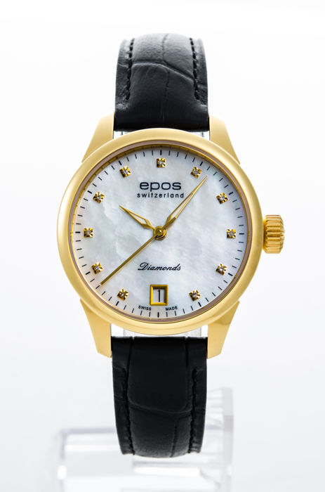 Epos - White Mother Of Pearl with 11 Diamond Automatic - 4426/F-YG-WHT-DIAM-INDEX - Damer - 2011-nutid