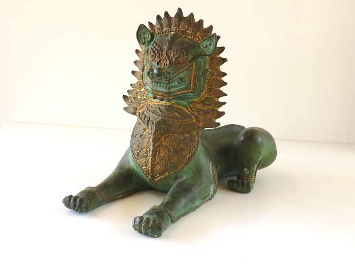 Bronze figure of a Singha temple lion - Thailand - second half of the 20th century