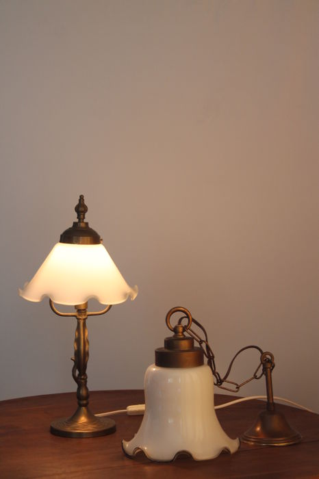 Old wall lamp and table lamp of bronze with white elegant glass calyx shades