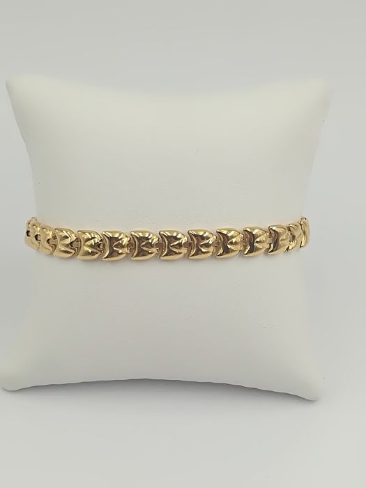 Yellow gold bracelet (18 kt) with stylised semi-rigid polished links - Length 20 cm - 12.02 g