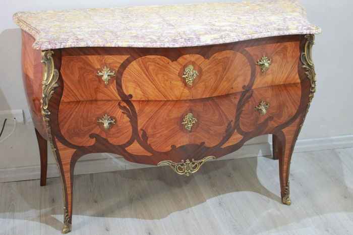 Mercier Frères Paris - 20th century inlaid Napoleon III style chest of drawers