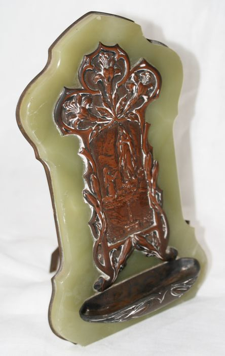 Art Nouveau copper holy water font on stone plaque - France - Early 20th century