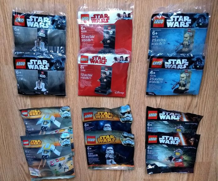 Star Wars - 12 polybags - R3-M2, Stormtrooper Sergeant, Phantom Mini, e.a. - 40268, 5002938, 5002939