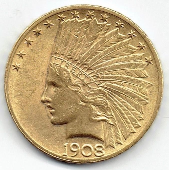 Verenigde Staten - 10 Dollars 1908 Indian Head - Goud