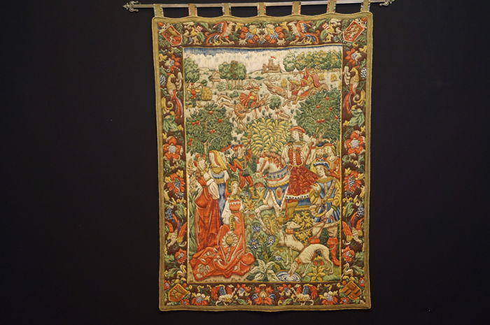 Old wall carpet Tapesterie - with representation of a medieval outdoor scene - a hunting spectacle of falconers c. 1950s - approx. 150 x 110
