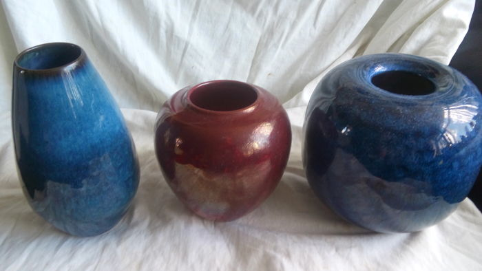 Herman Zaalberg Three Vases In Red And Blue Catawiki