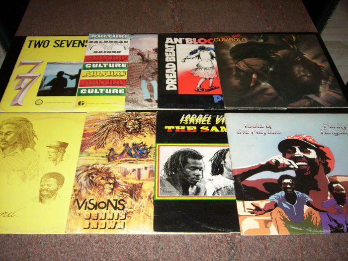 8  Reggae LP's - Culture (2x) - Toots & The Maytals - Israel Vibration - Visions of Dennis Brown - The Legend (Augustus Pablo) - Cumbolo - Poet and The Roots