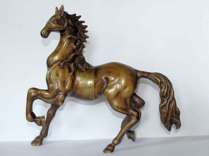 Bronze sculpture of a horse in trot - brass, late 1st half of the 20th century
