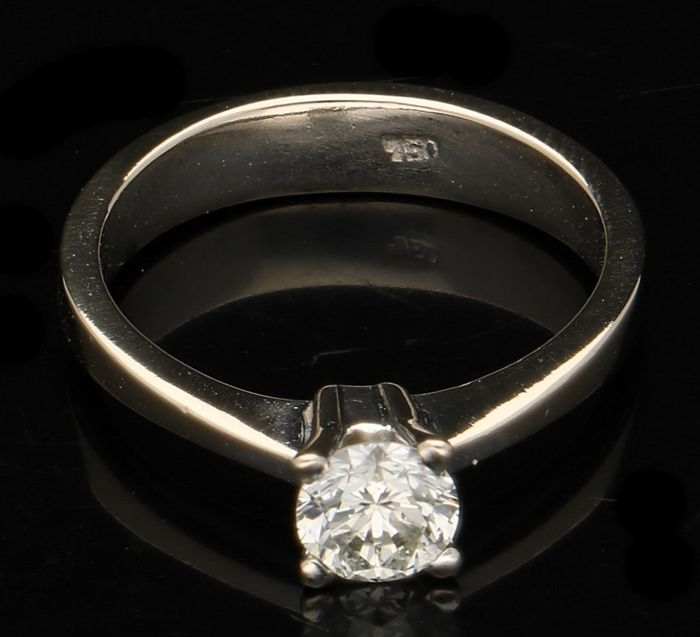 18 kt white gold ring with diamond - ring size 16.5 mm