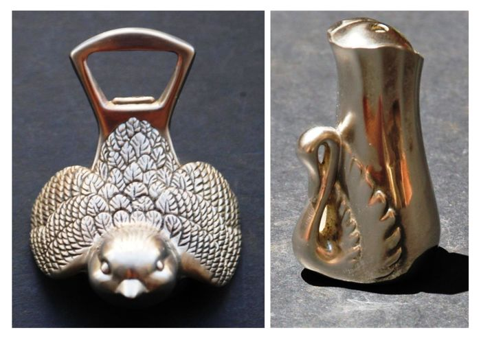 Antique Silver Plated Bird Shaped Bottle Opener and a Pepper Shaker with Swan, European, ca. 1950