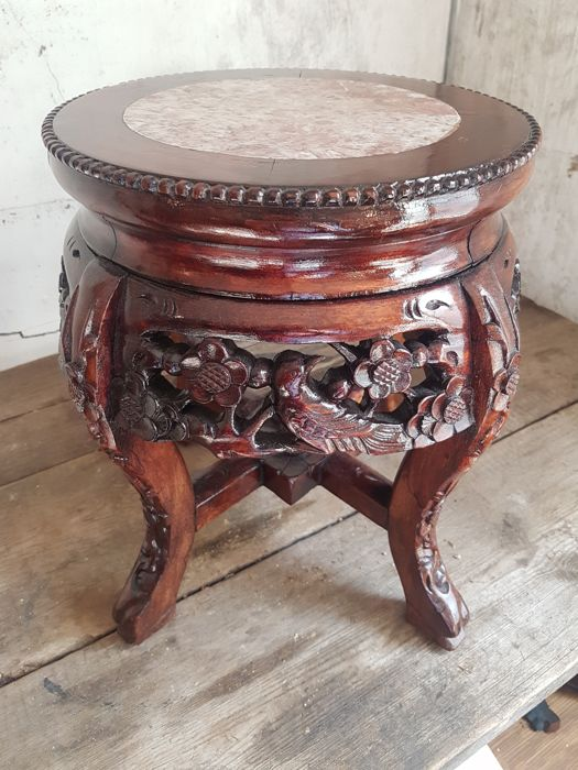 A fine large hardwood stand with marble top - China - mid 20th century