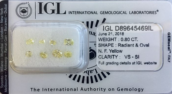 Natural fancy yellow sealed parcel. Total carat weight 0.80ct si-vs oval shape IGL #D89645469IL