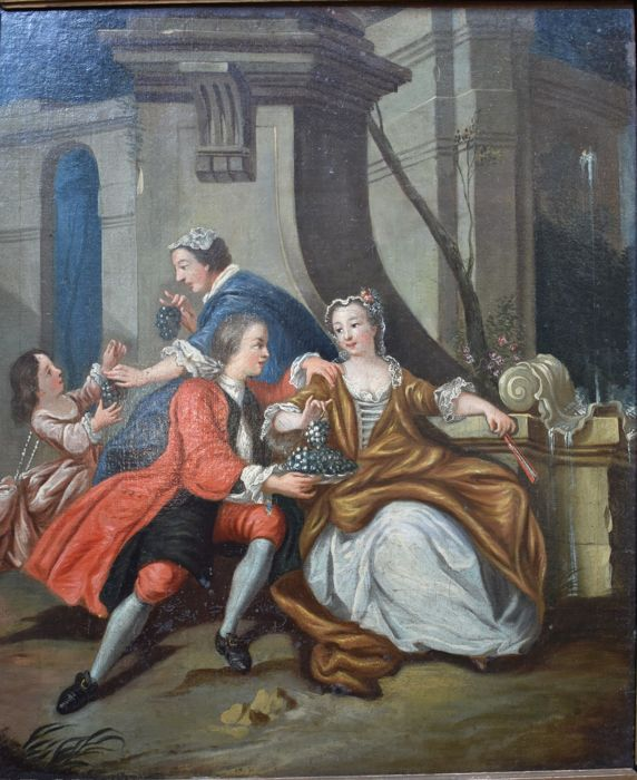 French school XIXth, Jean-Baptiste Pater (after)   - Young couple enjoying grapes