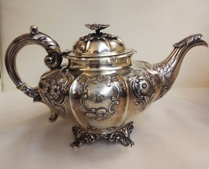 Early Victorian silver teapot, Samuel Hayne & Dudley Cater, London 1842