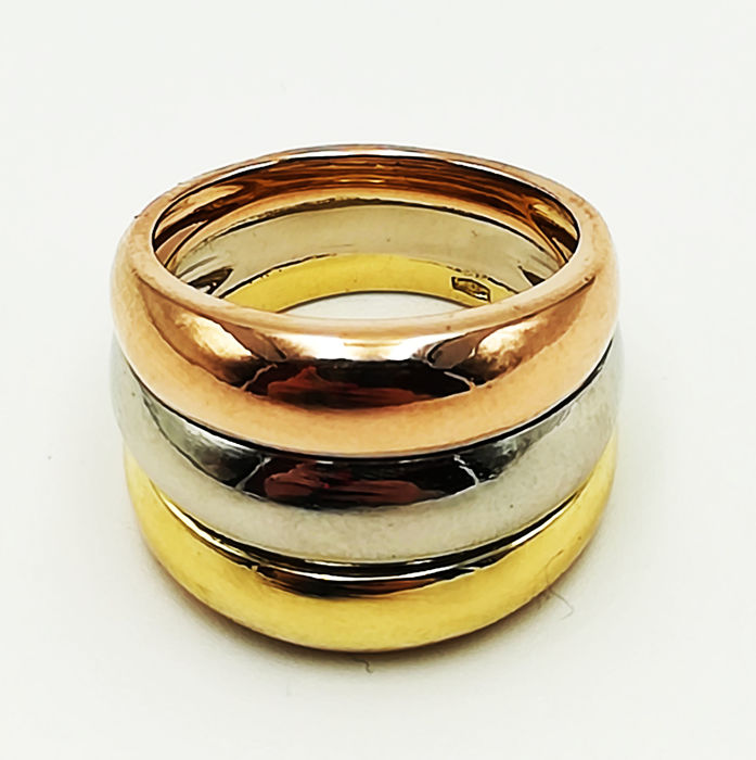Band ring in 18 kt rose, white and yellow gold, size 11, total weight 13.34 g