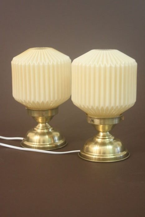 Pair of perfect retro lamps with opaline beige glass in the shape of a folded paper, 1930s