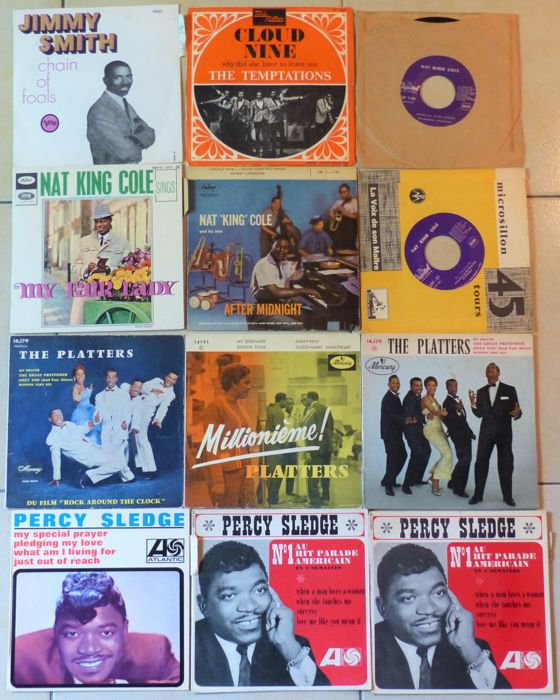 "12 singles  ""Legends of Jazz and Soul"" - Jimmy Smith, The Temptations, Nat King Cole, The Platters, Percy Sledge."