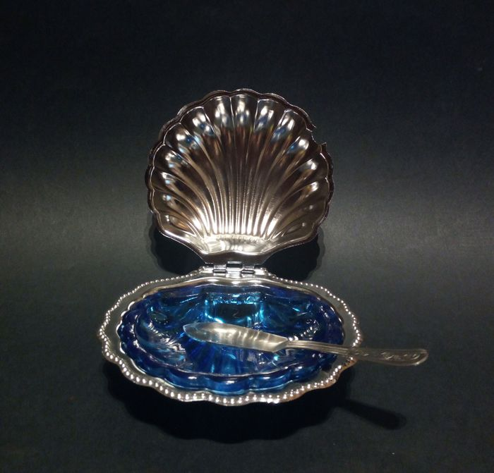 Unusual silver plated butter dish shell with cobalt blue glass Bowl - ca. 1950 - Italy